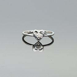 Pierścionek złoty serce z diamentami