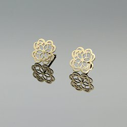 Kolczyki złote koniczyny ażurowe