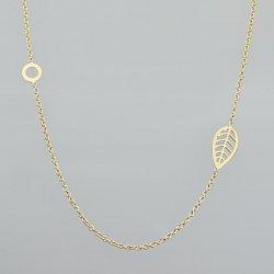 Naszyjnik złoty liść i kółko