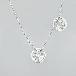 Naszyjnik srebrny celebrytka kółko kwiatek