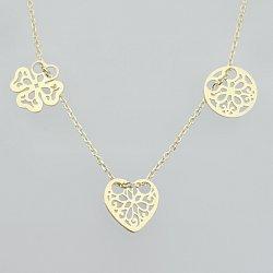Naszyjnik srebrny celebrytka serce koniczyna kółko