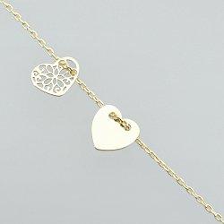 Bransoletka srebrna celebrytka złote podwójne serce