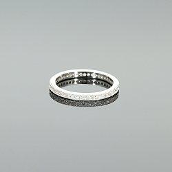 Pierścionek obrączka srebrna rodowana z cyrkoniami