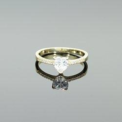 Pierścionek srebrny złocony z cyrkonią