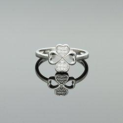 Pierścionek srebrna koniczyna z cyrkoniami