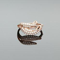 Pierścinek srebrny złocony z cyrkoniami