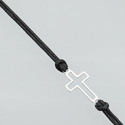 Bransoletka srebrna krzyżyk sznurek