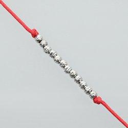 Bransoletka srebrna kulki sznurek
