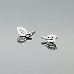 Kolczyki srebrne liście cyrkonie