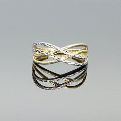 Pierścionek złoty rodowana mijanka