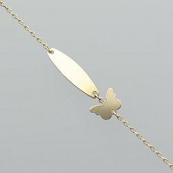 Bransoletka złota motyl z blaszką