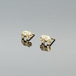 Kolczyki złote słonie z cyrkoniami